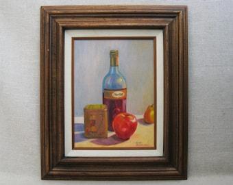 Vintage Fruit and Wine Still Life Painting, Merlot, Framed Original Fine Art