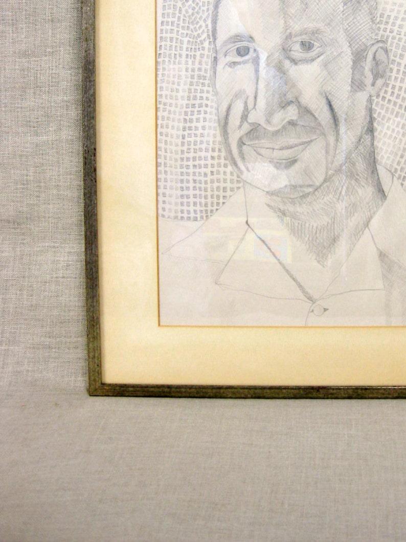Framed Original Fine Art Male Portrait Drawing Portraiture Handmade Works on Paper Figure Pencil Pictures of Men,Masculine Wall Decor