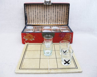 Vintage Barware, Drinking Games, Tic Tac Toe, Shot Glass Collection