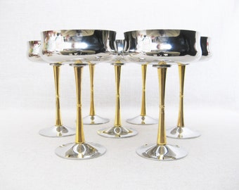 Vintage Inoxbeck Italian Stemware, Mid-Century Barware, Champagne Glass, Dessert Cup, Stainless Steel