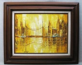 Vintage Landscape, Urban Cityscape, Framed Original Fine Art