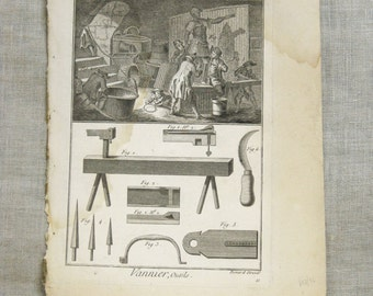 Antique Bookplate Engraving, Bernard Direxit, 1700s, Tools, Instruments, 18th Century, Vannier, Outils