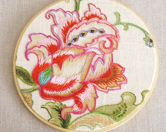 Hoop Art Hand Embroidery, Flowers, Floral,  Wall Decor, Wedding, Embroidered, Hand Sewn