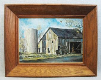 Vintage Landscape Painting, Rural Barn, Framed Original Fine Art