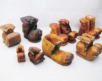 Vintage Miniature Shoes, Wooden Boots, Collection, Folk Art Carving Sculpture, Primitive Rustic Decor