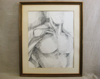 Vintage Male Portrait Drawing, Framed Original Fine Art, Sarah Drower