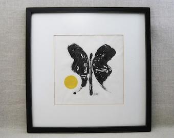 Vintage Butterfly Ink Monotype Fine Art Print, Framed Original Fine Art