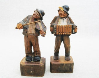 Vintage Portrait Carvings, Male Figures, Musical European Folk Art, Rustic Cabin Decor