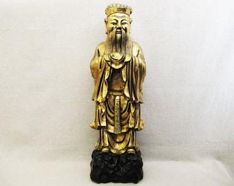 Vintage Buddha Statue, 24 Inch Tall, Ceramic Religious Sculpture