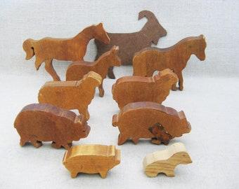 Vintage Farm Animal Toys, Horse, Sheep, Pigs, Wood Toy Block Animal, Folk Art Figures