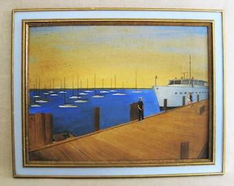 Vintage Landscape, Seaside Painting, Framed Original Fine Art
