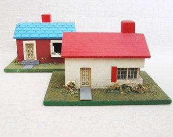 Vintage Miniature House, Wooden Christmas Decor, Architecture Holiday Decor