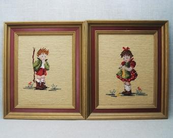 Vintage Needlepoint Child Portraits, Nursery Decor, Boy and Girl, Framed Embroidery