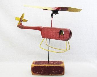 Vintage Folk Art Helicopter, Primitive Wood Carving Sculpture