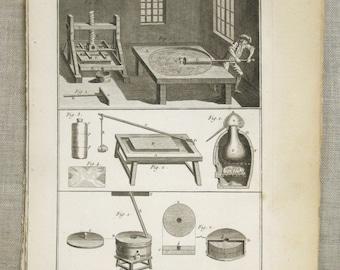 Antique, Bookplate, Tools Engraving, Bernard Direxit, 1700s, 18th Century, Paper Ephemera, Vannier, Outils