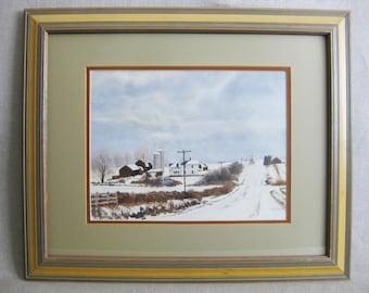 Vintage Winter Landscape Watercolor Painting, Framed Original Fine Art