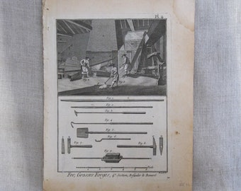 Antique Bookplate Engraving, Book Plate, Bernard Direxit, 1700s, Tools and Instruments, 18th Century
