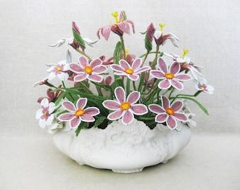 Vintage Beaded Flower Arrangement, Floral Bouquet