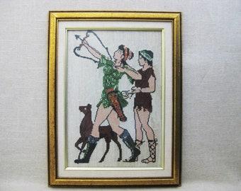 Vintage Female Portrait Needlepoint, Artemis, Greek Goddess, Framed Embroidery