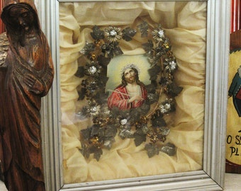 Vintage Jesus Shadow Box, Religious Folk Art Mourning Devotional