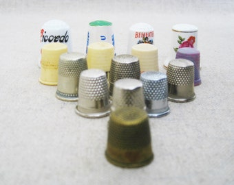 Vintage Thimble Collection, Sewing Tools, Craft Room Supplies