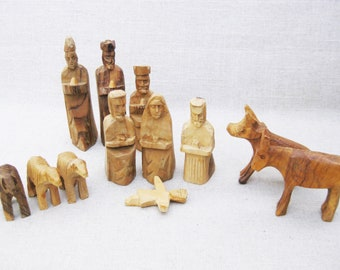 Vintage Nativity Carving, Mary Joseph and Jesus, Folk Art Holiday Decor, Hand Carved Sculpture
