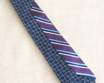 Vintage Silk Tie, Stripes, Hand Embroidered, Blue, Purple, Upcycled, Preppy