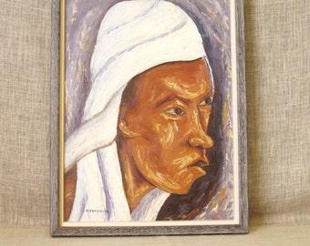 Vintage Haitian Male Portrait Painting, Signed Mathilde Desrosiers, Framed Original Fine Art, Portraiture