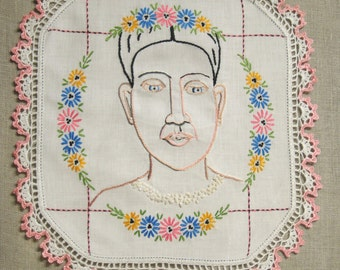 Embroidered Female Portrait, Hoop Art Hand Embroidery Art, Portraiture, Hand Sewn
