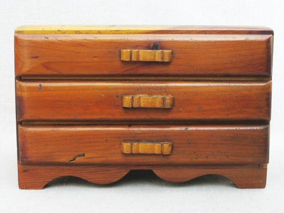 Vintage Jewelry Box, Miniature Dresser, Doll Furni