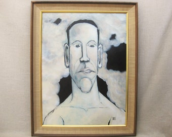 Male Portrait Painting, Athlete Swimmer, Framed Original Fine Art, Portraiture Art