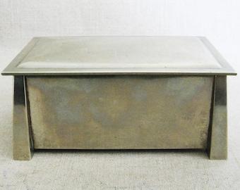 Vintage Silver Box, Arts and Crafts Period, L.& M. T. Co. Fatima Nickle Silver