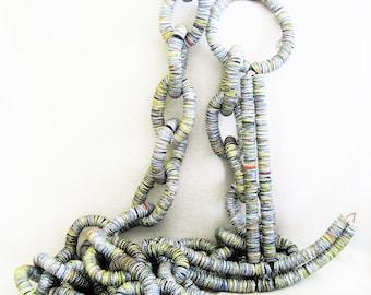 Vintage Bottle Cap Chain and Anchor, Folk Art Nautical Sculpture, 15 Feet, 37 Links