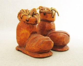 Vintage Wooden Shoe, Folk Art Carving, Boot Sculpture, Miniature Shoes, Pair, Primitive Rustic Decor