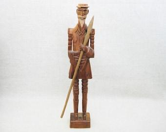 Vintage Male Portrait Carving, Folk Art Sculpture, Don Quixote