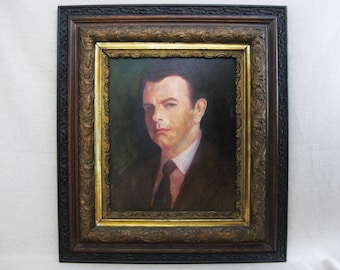 Vintage Male Portrait Painting, Original Fine Art