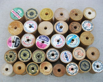 Vintage Wooden Thread Spools, Sewing Supply and Decor