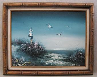 Vintage Beach Landscape Painting, Male Portrait, Framed Original Fine Art