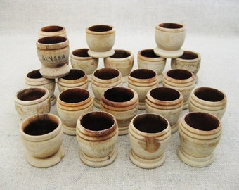 Vintage Wooden Cups, Miniature Egg Cup, Art and Crafts Supplies