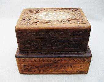 Vintage Box, Hand Carved Wooden Dresser Box, Storage and Organization