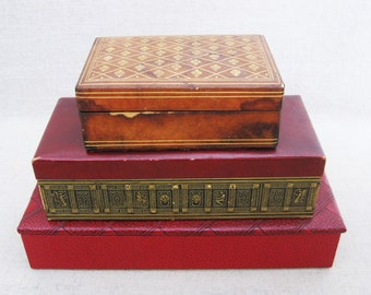 Vintage Leather Covered Boxes, Antique Dresser Box, Storage and Organization, Desk Accessories