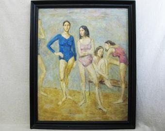 Vintage Ballerina Female Portrait Painting, Thomas Strickland, Framed Original Fine Art