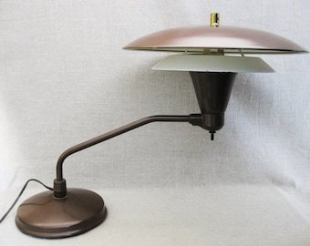 Vintage Mid-Century Desk Lamp, Saucer Style Shade, Art Specialty Chicago, 1950s
