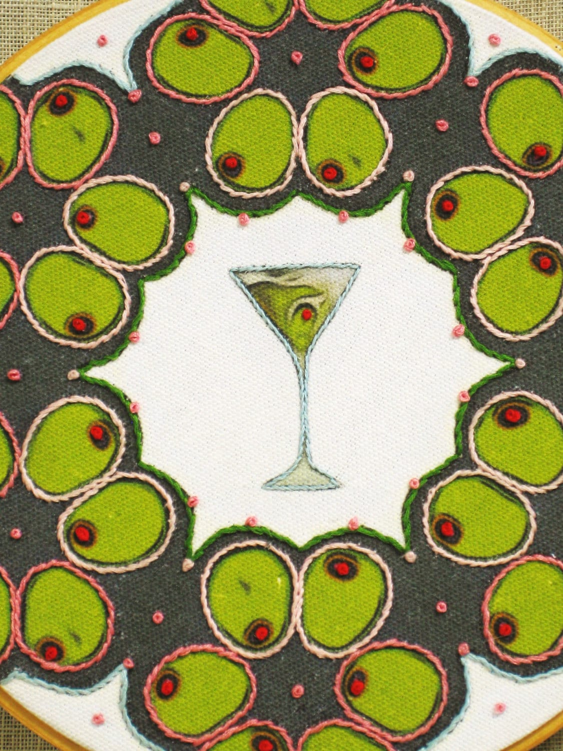 Hoop Art Embroidery Hand Embroidered Martini Olives