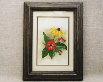 Vintage Flower Painting, Floral Still Life, Original Fine Art, Framed Wall Decor