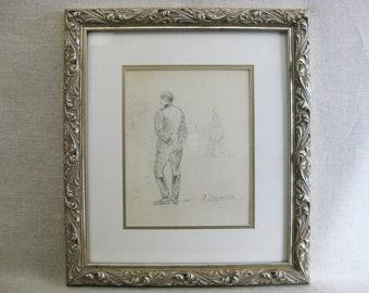 Vintage Male Portrait Drawing, Framed Original Fine Art, Military