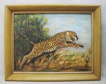 Vintage Leopard Painting, Framed Original Fine Art
