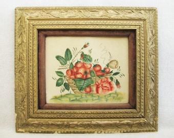 Vintage Fruit Still Life Theorem Painting, Framed Original Fine Art