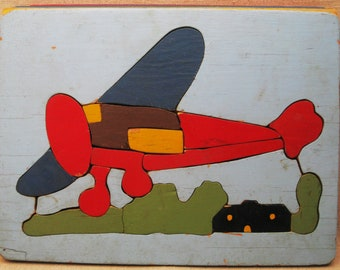 Vintage Airplane Wood Puzzle, Childrens Toys, Aviation, Judy Toys, Folk Art Wall Decor