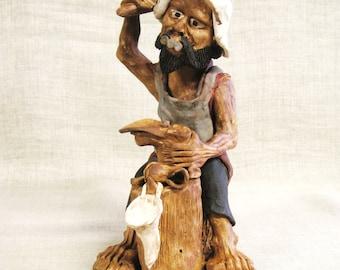 Vintage Male Portrait Fine Art Ceramics, Sculpture, Paulino Mamani, Cobbler, Pottery, Male Figure
